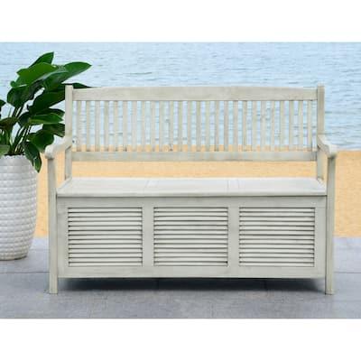"""SAFAVIEH Outdoor Living Brisbane Distressed White Storage Bench - 50"""" x 24"""" x 35.2"""""""