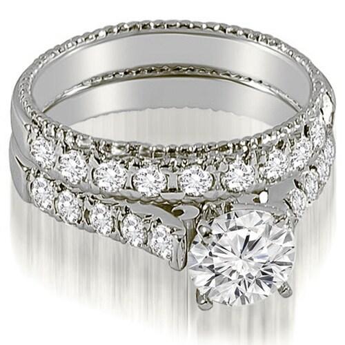 1.50 CT.TW Vintage Cathedral Round Cut Diamond Bridal Set HI, SI1-2