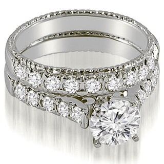 1.50 cttw. 14K White Gold Vintage Cathedral Round Cut Diamond Bridal Set (More options available)