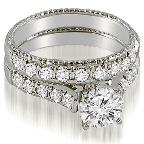1.75 cttw. 14K White Gold Vintage Cathedral Round Cut Diamond Bridal Set