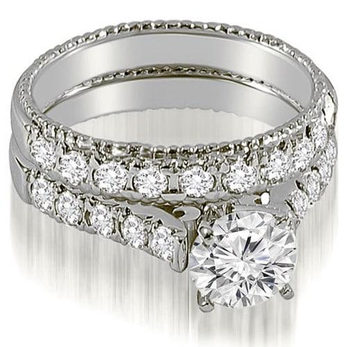 2.00 cttw. 14K White Gold Vintage Cathedral Round Cut Diamond Bridal Set