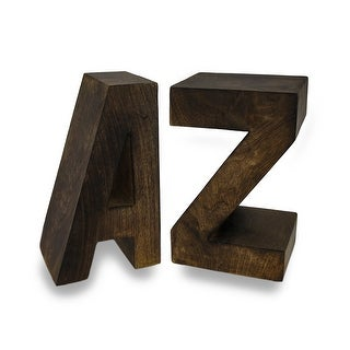 Pair of Handcrafted Solid Wood A to Z Bookends - brown