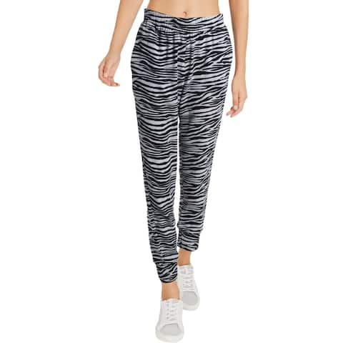 Aqua Womens Jogger Pants Animal Print High Rise - Black White Zebra