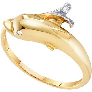10k Yellow Gold Womens Natural Round Diamond Dolphin Fish Animal Fashion Band Ring .03 Cttw - White