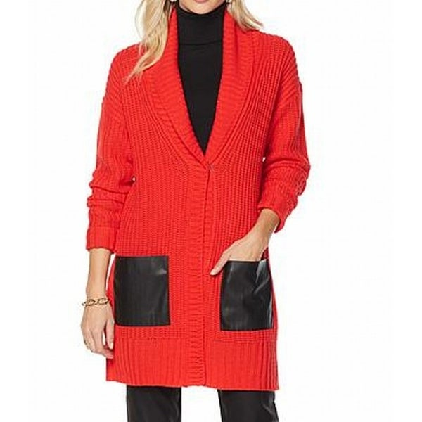 80c03e9ac9 Shop DG2 By DIane Gilman NEW Red Women 1X Plus Cowl Neck Faux-Leather  Sweater - Free Shipping On Orders Over  45 - Overstock - 18728266