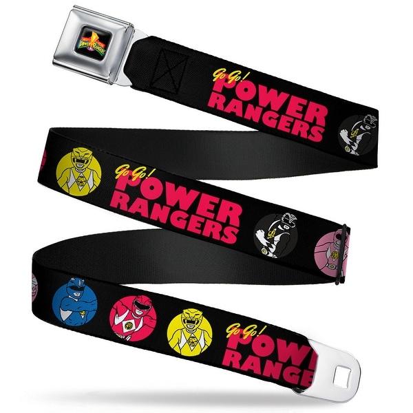 Power Rangers Logo Full Color Power Ranger Pose Buttons Go Go! Power Seatbelt Belt