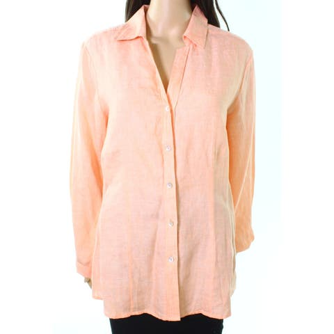 Foxcroft Shell Coral Orange Womens Size 8 Solid Button Down Shirt