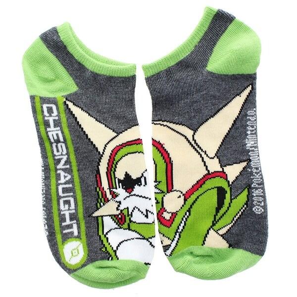 Pokemon Women's Ankle Socks, Chesnaught, One Pair Size 9-11 - Grey