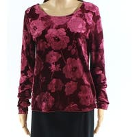 Eyeshadow Purple Womens Size Small S Velvet Floral Long Sleeve Top
