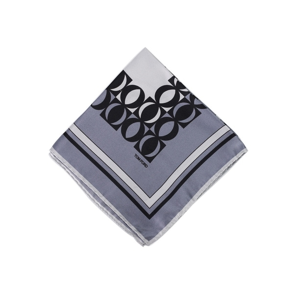 Tom Ford Light Grey Blue Circle Abstract Silk Pocket Square