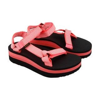 Teva Flatform Universal Womens Orange Textile Flip Flops Slip On Sandals Shoes