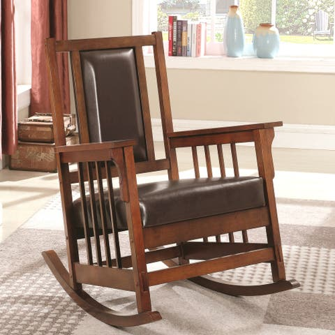 Wooden Mission Design Rocking Chair with Brown Leather Seat