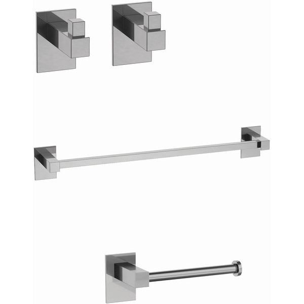 WS Bath Collections Taca 51990 Taca Bathroom Package with Two Robe Hooks, Towel Bar, and Tissue Holder - Polished Chrome