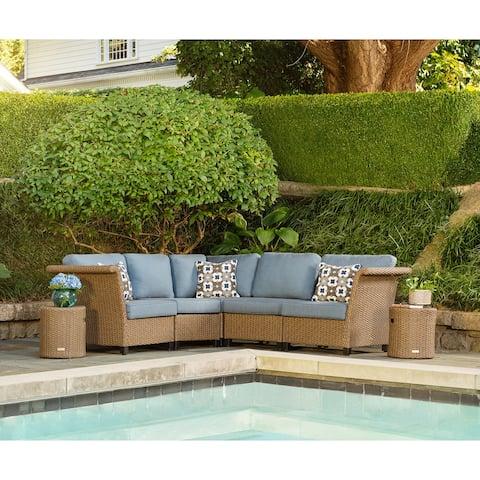La-Z-Boy Nolin 5pc Weathered Brown Sectional Set with 2 Side Tables, Sunbrella Spectrum Denim Fabric