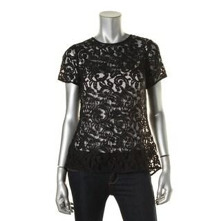 MICHAEL Michael Kors Womens Lace Sheer Peplum Top