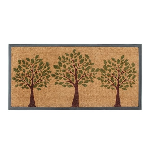 A1HC- Designer Hand-Crafted Rubber Coir Molded Double/Single Door Mat, Perfect and More Functional Size 24x48 Inch
