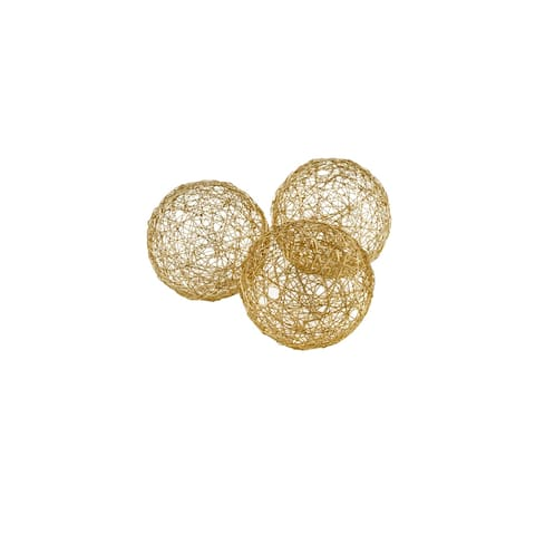 """HomeRoots 3"""" X 3"""" X 3"""" Gold Iron Wire Spheres - Box Of 3"""