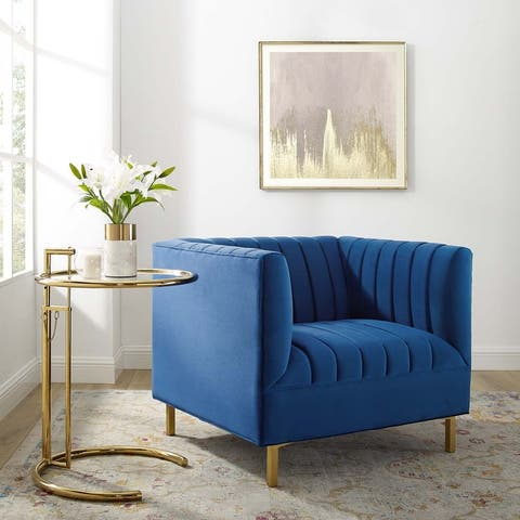 Shift Channel Tufted Performance Velvet Armchair