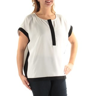 ALFANI $79 Womens New 1371 Ivory Black Jewel Neck Short Sleeve Casual Top 14 B+B