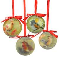 """14-Piece Nature's Birds Decoupage Shatterproof Christmas Ball Ornament Set 2.75"""" - green"""