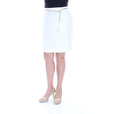 a9e15e3a44ff TAHARI Womens Ivory Belted Above The Knee Pencil Skirt Petites Size: Size 0