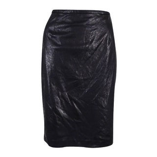 Calvin Klein Women's Distressed Faux-Leather Pencil Skirt - Black