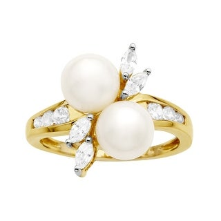Pearl and 3/4 ct White Sapphire Ring in 10K Gold