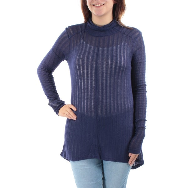 LUCKY BRAND Womens Navy Long Sleeve Turtle Neck Top Size: S