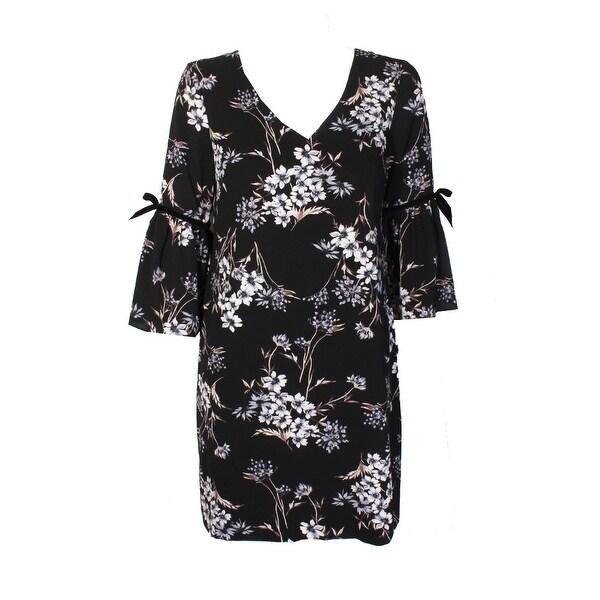 517b8e9d Jessica Howard Petite Black Blue Flutter-Sleeve Floral Print Shift Dress 12P