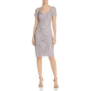 Adrianna Papell Womens Evening Dress Sheath Embellished - Lilac Grey