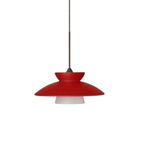 Besa Lighting 1XT-271831 Trilo 1 Light Halogen Cord-Hung Mini Pendant with Red Matte Glass Shade