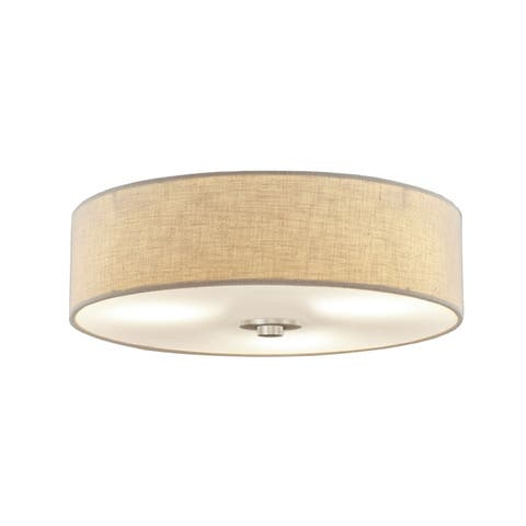 EVOLV Textile Classic 15-inch Brushed Nickel Close-to-Ceiling Drum