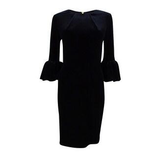 Betsy & Adam Women's Melania Velvet Bell-Sleeve Dress - Black