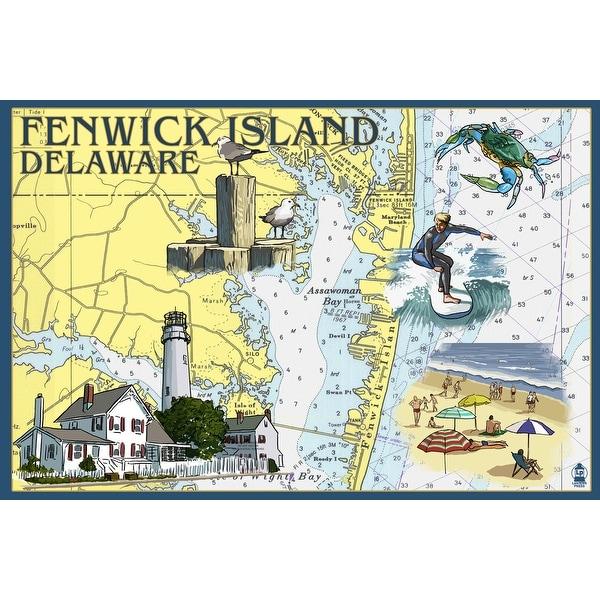 Fenwick Island, DE - Nautical Chart - LP Artwork (Acrylic Wall Clock)