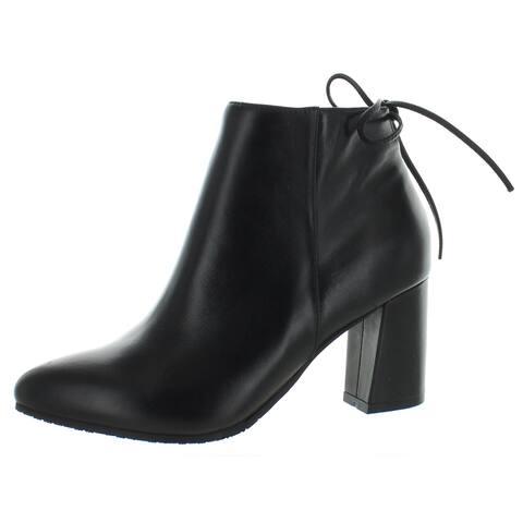 Blondo Womens Tiana Ankle Boots Ankle Block Heel - Black Leather - 6.5 Medium (B,M)