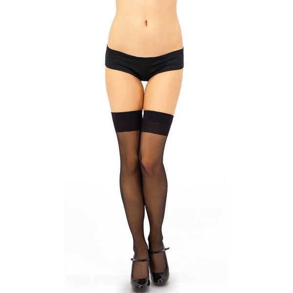 Sheer Thigh High, Thigh High With Wide Band - One Size Fits Most