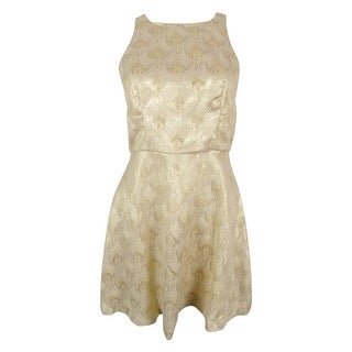 BCBGeneration Women's Jacquard Metallic Dress - cream gold