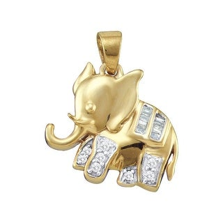 Baby Elephant Pendant 10K Yellow-gold With Round and Baguette Diamonds 0.1 Ctw By MidwestJewellery - N/A