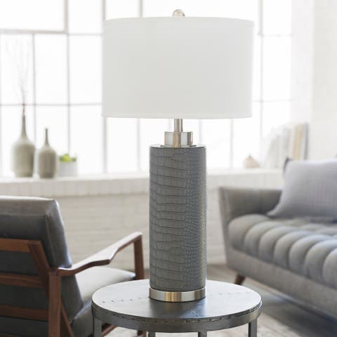 Arodue Table Lamp with Grey Base and White Shade