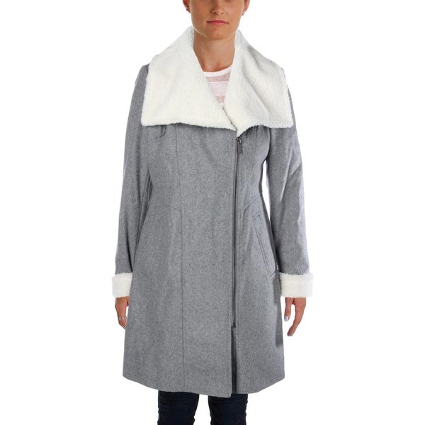 DKNY Womens Coat Wool Blend Shearling