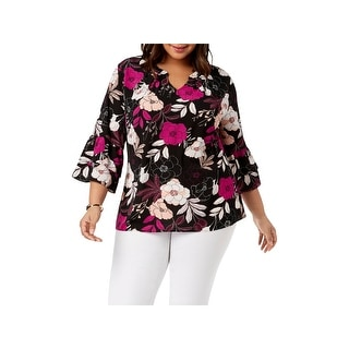NY Collection Womens Plus Blouse 3/4 Sleeves