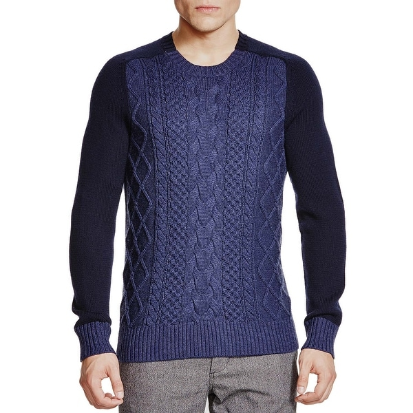 4c6d8249 Bloomingdales Mens Merino Wool Cable Knit Sweater XX-Large Heather Navy  Combo