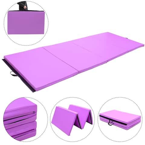 4'x10'x2'' Gymnastics Mat Thick Folding Panel Aerobics Gym Purple