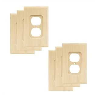 Franklin Brass W10397V-R Wood Square Single Duplex Outlet Wall Plate - Pack of 6 - unfinished wood