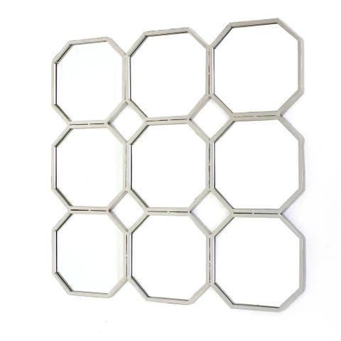 Metal Wall Mirror with Nine Connected Octagonal Mirror Shapes, Silver - 30.5 H x 1 W x 30.5 L Inches