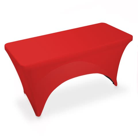 4' Rectangular Spandex Fitted Tablecloth - Red by Lann's Linens