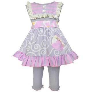 Annloren Baby Girls Gray Pink Swirl Stripe Dress Capri Spring Outfit Set 12-24M