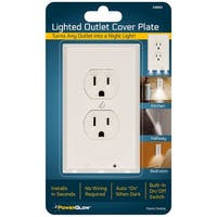 Powerglow Wall Outlet Plate LED Night Light On/Off Switch White Duplex - 240025