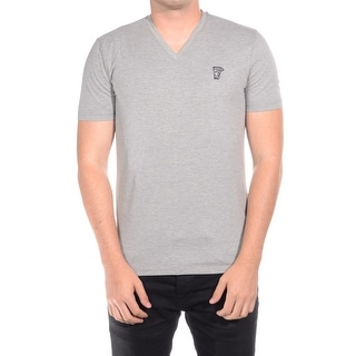 Versace Collection Men Medusa Head V-Neck T-Shirt Grey