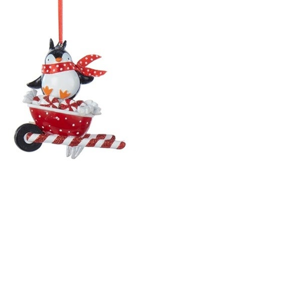 "3"" Peppermint Twist Penguin on White and Red Glitter Wheel Barrel Decorative Christmas Ornament"